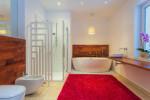 Baño con alfombra roja