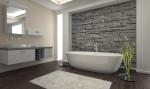 Baño minimalista con revestimiento de piedra