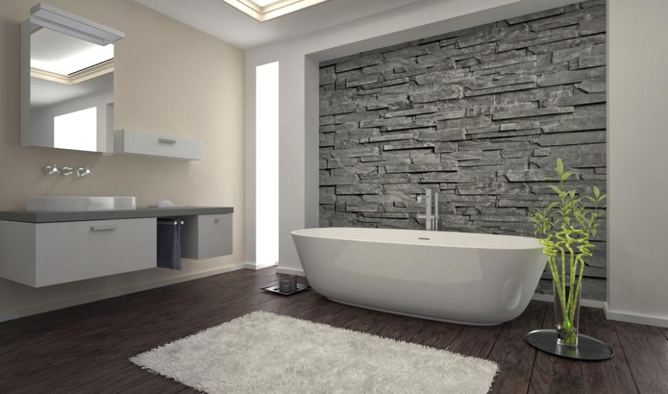 Ba o minimalista con revestimiento de piedra fotos para for Revestimiento para banos rusticos