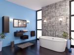 Baño con suelo en color wengué