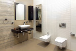 Baño moderno con sanitarios suspendidos