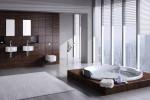 Baño moderno gris y madera