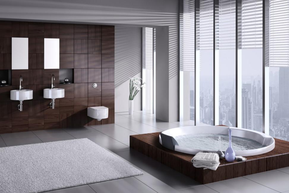 Ba o moderno gris y madera fotos para que te inspires for Banos modernos y bonitos