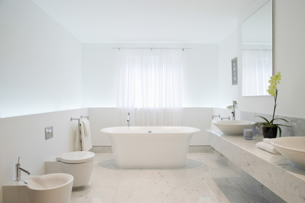 Ba o moderno minimalista blanco fotos para que te for Banos blancos modernos