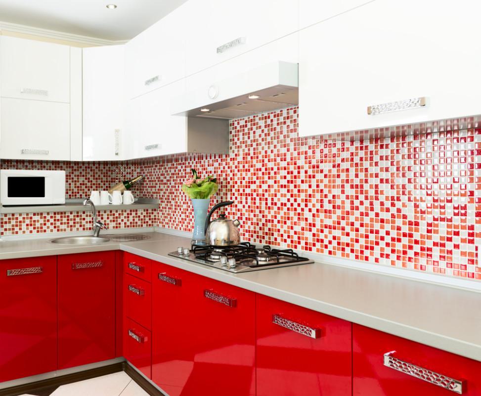 Cocina moderna de color rojo fotos para que te inspires for Cocinas modernas negras con rojo
