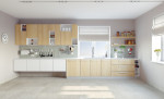Cocina moderna de tonos grises y claros
