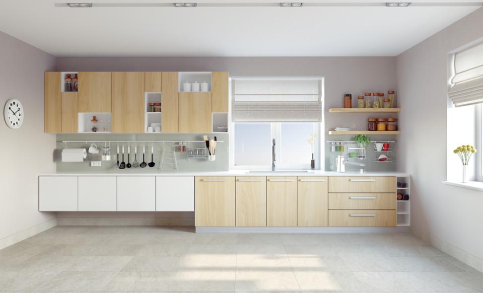Cocina moderna de tonos grises y claros fotos para que te for Cocinas claras modernas