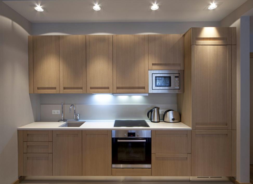 Cocina peque a moderna en roble fotos para que te for Fotos de cocinas modernas pequenas