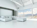 Salón industrial amplio con grandes ventanales