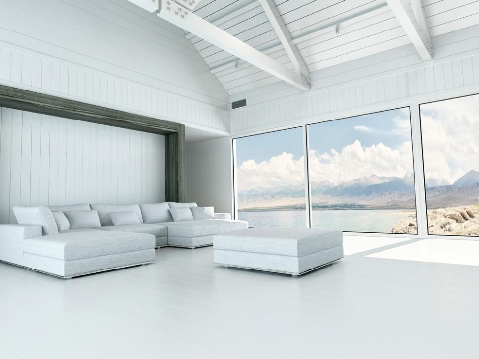 Sal n industrial amplio con grandes ventanales fotos para for Techos salones modernos