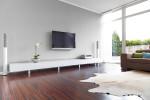 Salón minimalista con alfombra de piel