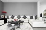 Salón minimalista de tonos grises