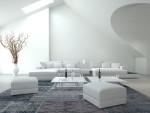 Salón moderno con muebles blancos