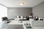 Salón moderno de tonos grises