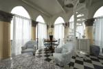 Salón vintage con escalera de caracol