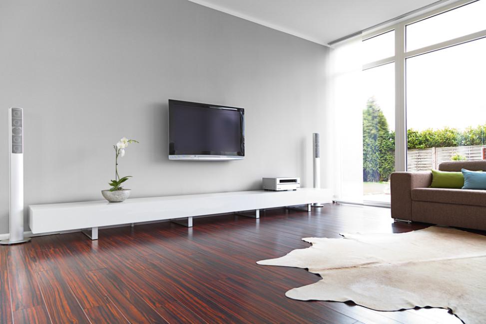Sal n minimalista con alfombra de piel fotos para que te - Salones con alfombras ...
