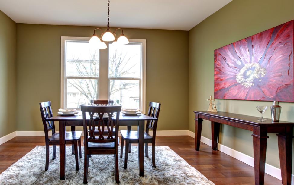 Comedor ecléctico con pared verde. Fotos para que te inspires ...