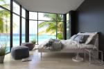Dormitorio costero con suelo de madera de pino
