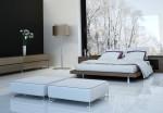 Dormitorio de estilo japonés con amplio ventanal