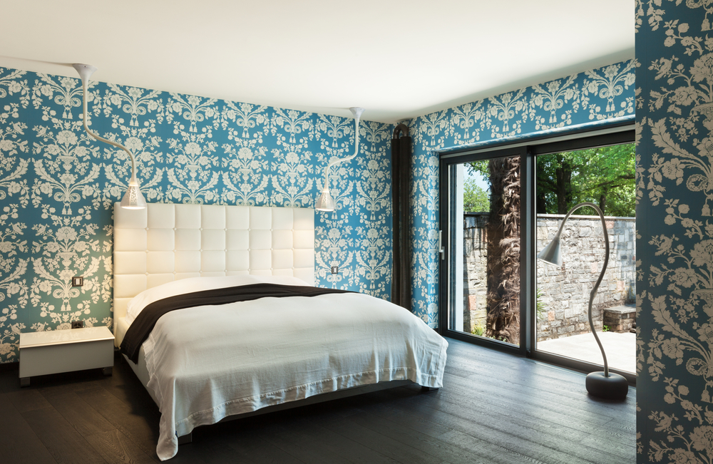 Dormitorio ecl ctico con pared estampada fotos para que Murales para recamaras matrimoniales