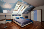 Dormitorio ecléctico en buhardilla