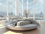Dormitorio futurista con cama redonda giratoria