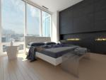 Dormitorio minimalista con suelo de madera clara