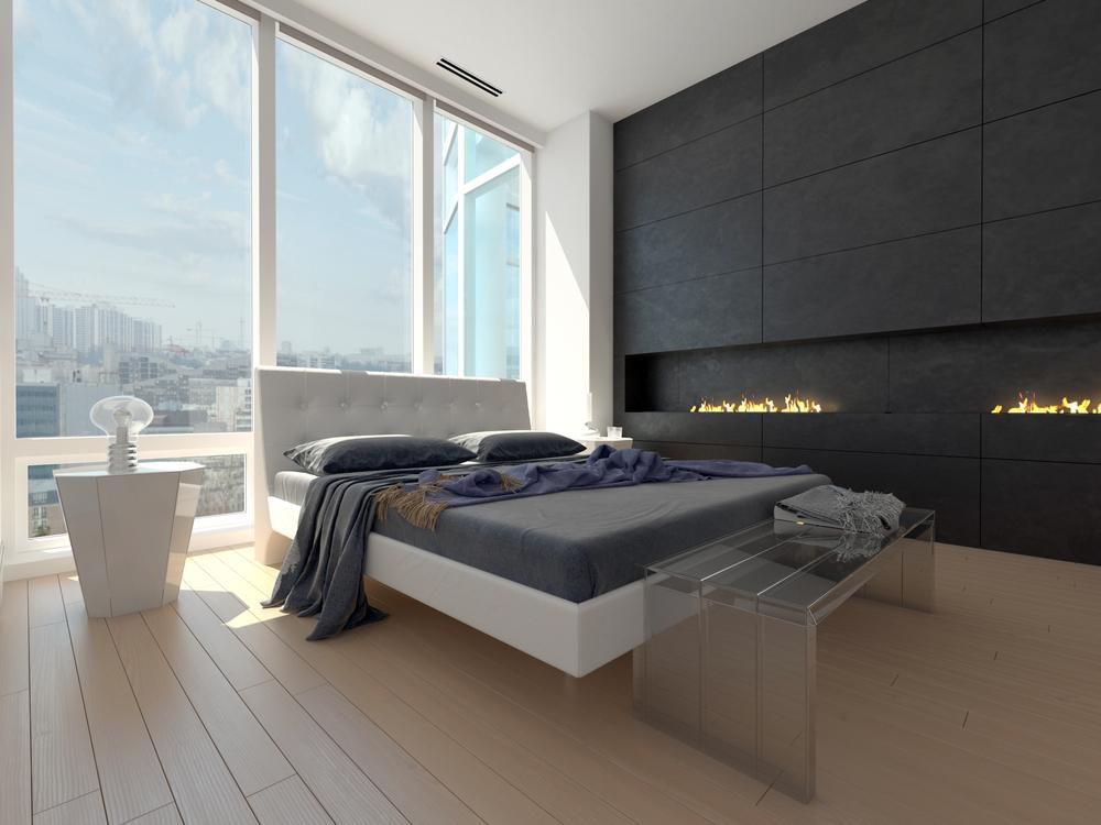 Dormitorio minimalista con suelo de madera clara fotos for Muebles minimalistas para dormitorio