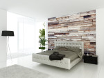Dormitorio moderno con revestiemiento de madera