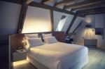 Dormitorio nórdico en buhardilla