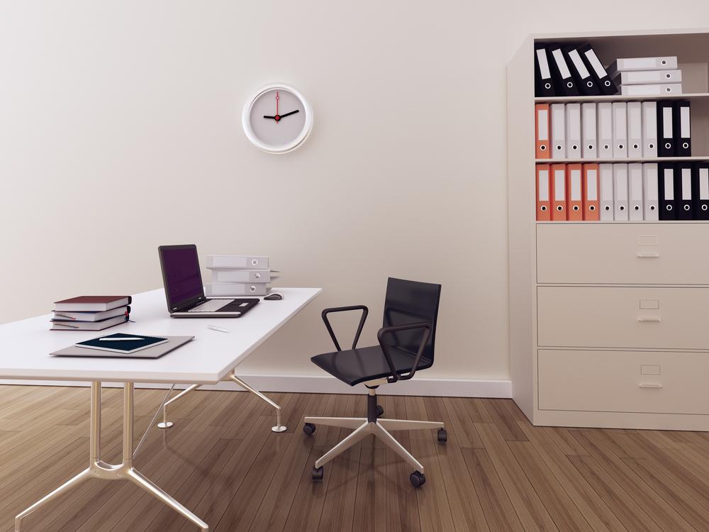Despacho minimalista con suelo de madera fotos para que - Decoracion paredes blancas ...