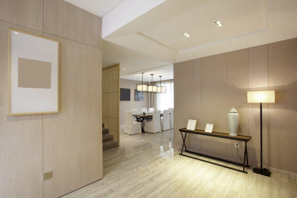 Recibidor moderno con paredes de madera fotos para que te - Fotos de recibidores de pisos ...