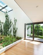 Recibidor moderno con jardín interior